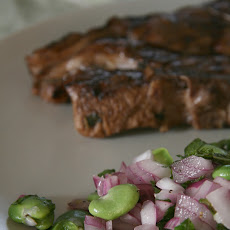 Fava Bean Salad with Marinated Lamb Chops