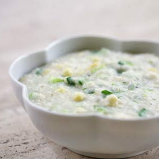 Grits with Corn and Onion Greens