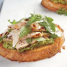Open-Faced Chicken Sandwiches with Green Pea Spread and Parmesan