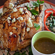 Thyme-Roasted Chicken With Blue Cheese, Hazelnuts And Creamed Kale