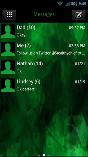 GO SMS THEME - Evil Green