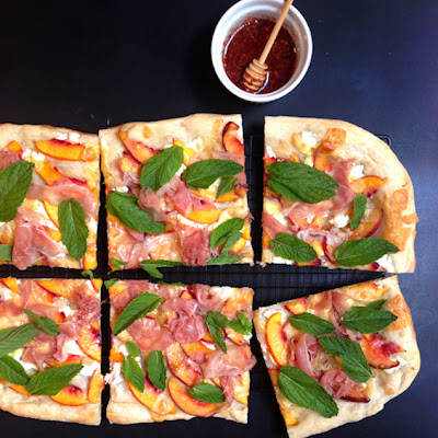 Stone Fruit and Prosciutto Pizza with Spiced Mint Honey