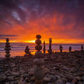 Everything Happens For a Reason by Patrick Flood - Landscapes Beaches ( canon, photosbyflood, sunset, california, ventura, ocean, seascape, landscape, balanced rocks )