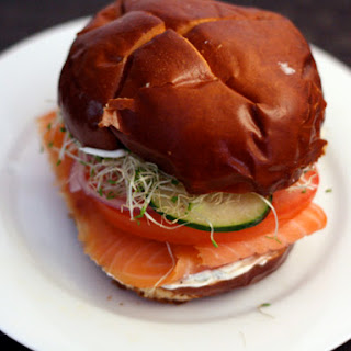 Smoked Salmon with Dill Crème Fraiche on Pretzel Bun