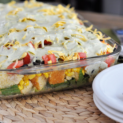 Mexican Cornbread Layered Salad