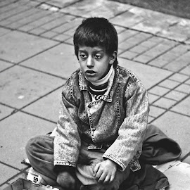 Street child by Aurora Bo-realist - Babies & Children Children Candids ( child, black and white, street, gipsy, boy )