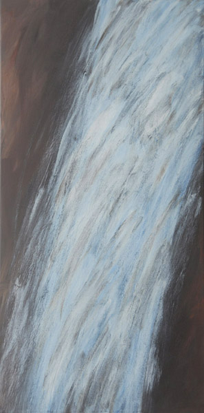 Waterfalls #2 <br> Acrylic paint on canvas <br> 40 x 18 in