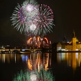 Prague fireworks by Petr Podroužek - Abstract Fire & Fireworks ( reflection, fireworks, town, bridge, riwer )