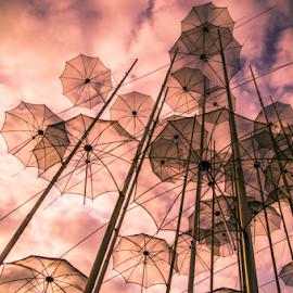 Umbrellas  by Vladimir Tufekchiev - Buildings & Architecture Statues & Monuments ( umbrellas, sky, umbrella,  )