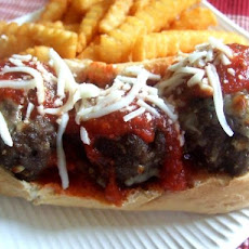 Cheesy Volcano Meatball Sandwiches