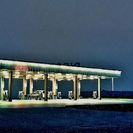 Gas by Tim Hall - Transportation Other ( gas station, road trip, night, travel, crusing, edward hopper, nightscape )
