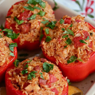 Andouille, Chicken, and Shrimp Jambalaya-Stuffed Peppers