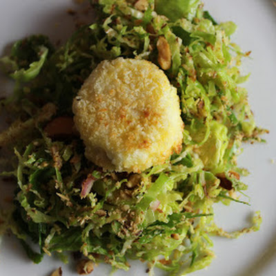 Brussel Sprout Salad with Smoked Almonds and Goat Cheese