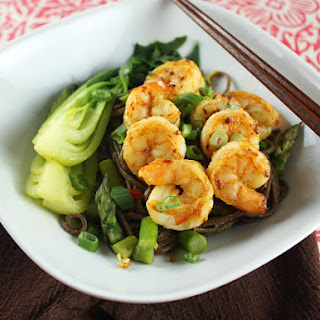Spicy Curried Shrimp and Noodles with Green Vegetables