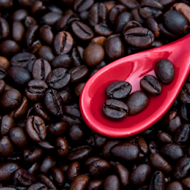 Coffee beans by Maria Livia - Food & Drink Ingredients ( contrast, macro, red, coffee beans, coffee, spoon, close up )