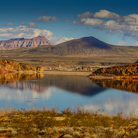 Quail Lake near Leeds, UT by Leslie Nu - Landscapes Waterscapes ( clouds, water, leeds, mountains, desert, resevoir, ut, quail lake, landscape )