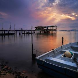 sunrises of  malaysia fishing village by Wei Jian Kent - Landscapes Sunsets & Sunrises ( malaysia traditonal village, susrises, malaysia, fishing village, fishing boat )