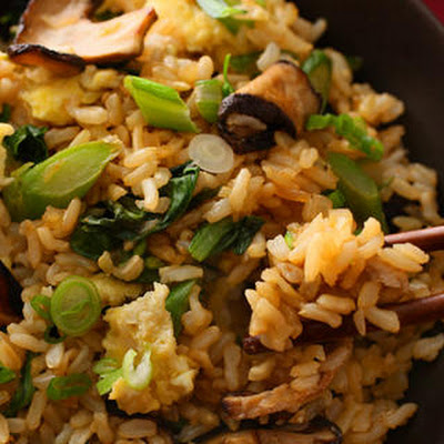 Gai Lan and Shiitake Stir-Fried Brown Rice