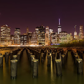 My night simphony by Ciprian Anton - City,  Street & Park  Skylines ( long exposure, manhattan, night, new york, city )