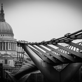 Millennium Bridge  by Joe Adams - Buildings & Architecture Bridges & Suspended Structures ( thames, london, black and white, millennium bridge, cathedral, bridge, st. paul's )