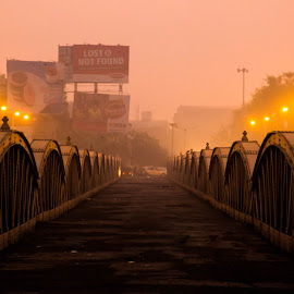 by Meet Trivedi - City,  Street & Park  Street Scenes ( dawn, street, bridge, light, city )