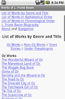 Screenshot of Works of L. Frank Baum