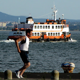 running with ferry by João Ascenso - Sports & Fitness Running ( ferry, running, river )