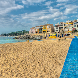 The beach path by Liam Coburn Dunne - Landscapes Beaches ( nikon 24-70, sand, blue, nikon d800, beach, sky sea, calella, costa brava, path, nature, landscape )