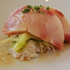 Wild Hamachi Sashimi with Coconut-Green Curry Vinaigrette and Ginger