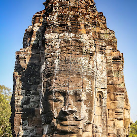 Bayon Face by Josh Fischl - Buildings & Architecture Statues & Monuments ( face, bayon, travel, angkorwat, cambodia )