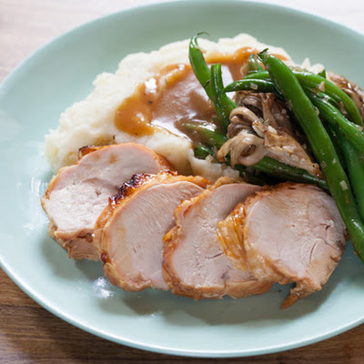 Maple-Glazed Turkey Breast with Mashed Potatoes, Green Beans & Maitake Mushrooms
