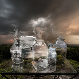 7th Landscape by Mikhail Batrak - Digital Art Things ( environmate, retouching, still life, art, table, digital, photo, manipulation, conservation, color, future, surreal, landscapes, jars, energy )