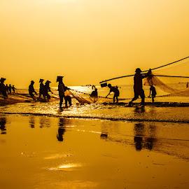 Nhộn nhịp làng chài by Amateur Pic - People Street & Candids ( vietnam, fishing, fisherman, amateurpic )