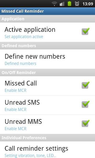 Missed Call Reminder