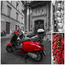 White, black, red by Tomas Horvat - City,  Street & Park  Street Scenes ( red, black and white, white, black, street photography )