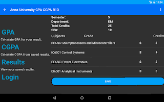 Screenshot of Student's Desk - GPA - CGPA