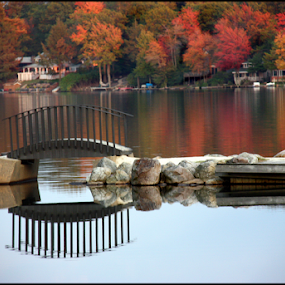 Autumn Scene by Bonnie Rovere - Buildings & Architecture Bridges & Suspended Structures ( water, autumn, fall, trees, reflections, bridge )