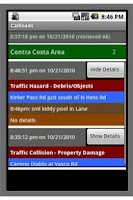 Screenshot of California Road Incidents
