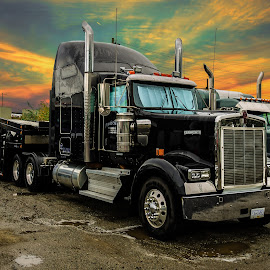 Big RIg by Jacob Helmhold - Transportation Automobiles ( colour, warm, sky, color, truck, sunset, rig, semi, big, pretty )