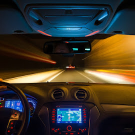 dashboard by Huybrighs Marc - Transportation Automobiles ( speed, m..., belgium, road, fast, stripes, nightscape,  )