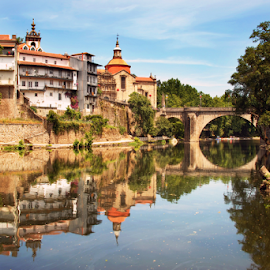 City of Amarante by Antonio Amen - City,  Street & Park  Vistas ( amarante, trees, castle, bridge, historical, reflex, river )