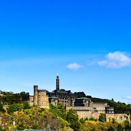 View from The Bridges in Edinburgh by Lyndsay Hepburn - City,  Street & Park  Skylines ( edinburghsummer2014, edinburghviewfromthebridges, edinburghviews, edinburghhistoricbuildings, standrewsandcaltonhill )