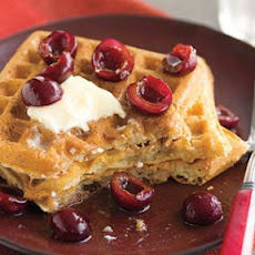 Brown Butter Waffles with Cherries