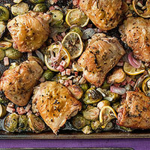 Roast Chicken Thighs & Brussels Sprouts with Pancetta