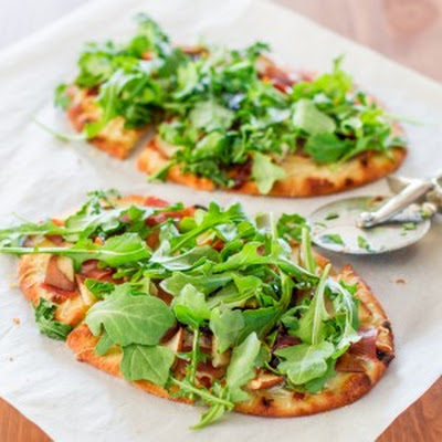 Pear Prosciutto and Arugula Flatbreads