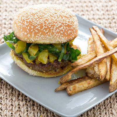 Southern-Style Burgers with Green Tomato Chow Chow & Roasted Old Bay Potatoes