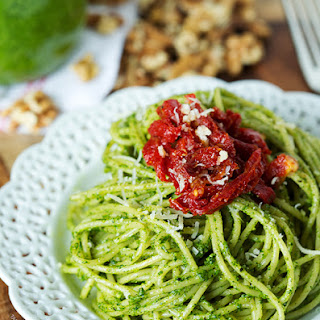 Arugula Walnut Pesto and Sundried Tomato Pasta