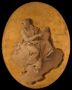 RIJKS: Giovanni Battista Tiepolo: Allegorical Figure of a Woman with a Shield or a Mirror (Prudence?) 1750