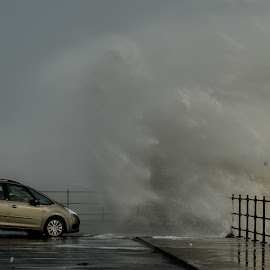 UK Storm 2014 by David Francis - News & Events Weather & Storms ( car, wind, waves, sea, storm )