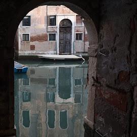 Venice Canal by David Robertson - City,  Street & Park  Street Scenes